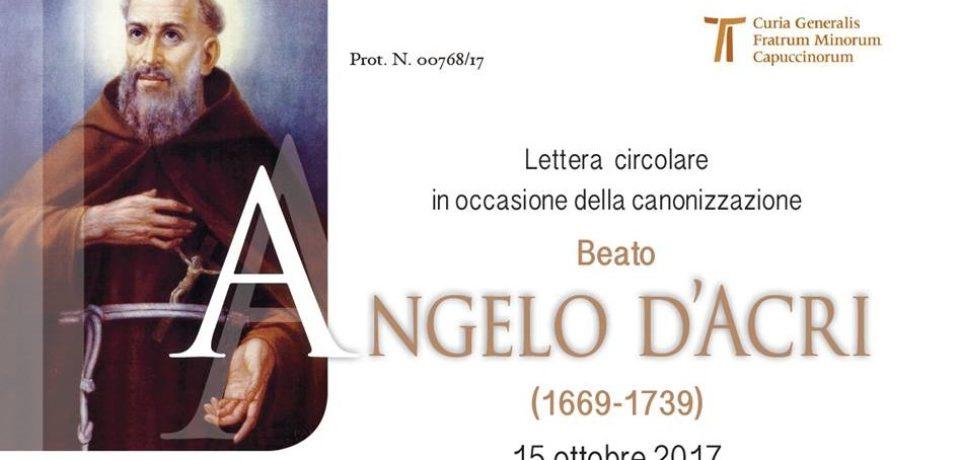 Lettera circolare del Ministro Generale sulla Canonizzazione del Beato Angelo d'Acri