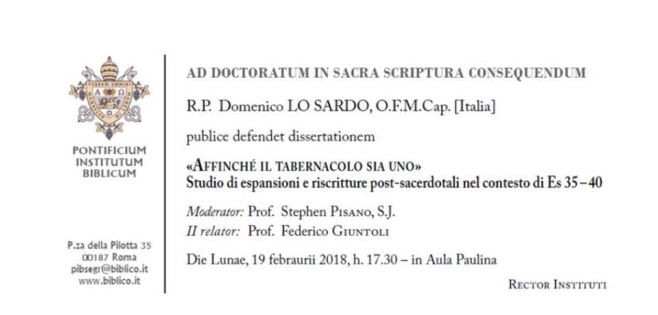 Difesa della dissertazione di dottorato di fr. Domenico Lo Sardo