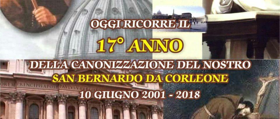 Diciassettesimo anniversario della Canonizzazione di S. Bernardo da Corleone