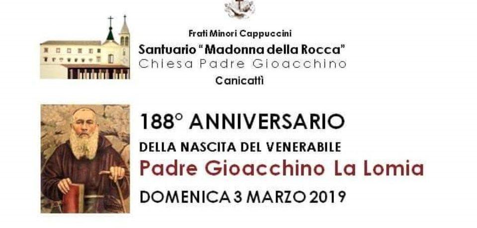 188° Anniversario della nascita del Venerabile P. Gioacchino La Lomia